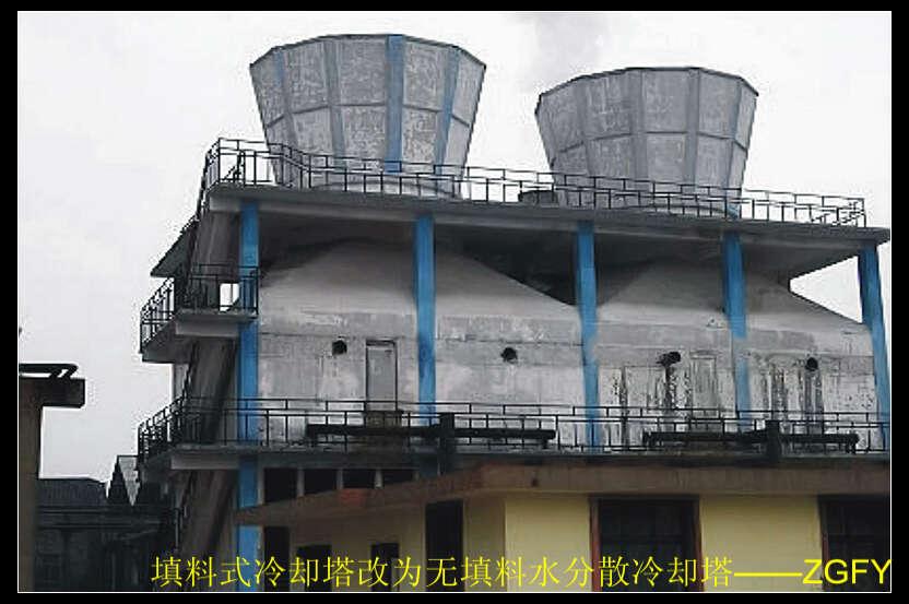 产品简介: 冷却塔改造后的性能: (1)、处理水量在原填料式冷却塔的基础上增加20~25%; (2)、冷却温差在原填料式冷却塔的基础上增加2~5; (3)、全塔阻力降低,冷却塔用风机所配套的电机省电20%左右; (4)、与系统配套热水泵的运行费用降低; (5)、避免了填料碎片等对系统内管道、设备的堵塞。 冷却塔改造方法: (1)、拆除冷却塔内的填料、分水管、布水器等附件,使塔成为一座空塔; (2)、在冷却塔进风口的上端安装与我公司水分散雾化装置相配套的布水管,并在布水管上安装一定数量的水分散雾化装置;
